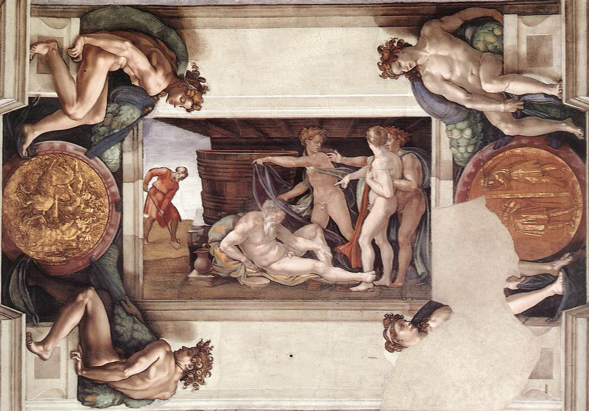 sistine-chapel-ceiling-drunkenness-of-noah-1509